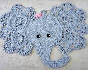 elephant rug crochet elephant crochet elephant rug nursery rug nursery ...