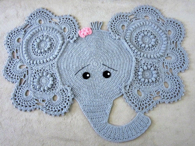 Elephant rug, crochet elephant, crochet elephant rug, nursery rug, nursery  decor, grey elephant rug, grey rug, baby shower gift, baby room