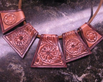 On Sale - Handmade Leather Necklace with Tooling   LEATHER JEWELRY 2 sides