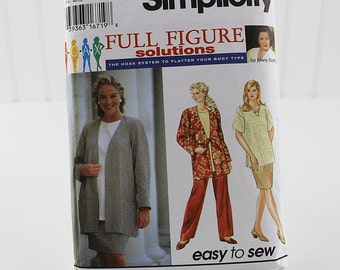 Full Figure Jacket, Skirt and Pants Pattern, Uncut Sewing Pattern, Simplicity 9474, Size 18W-24W