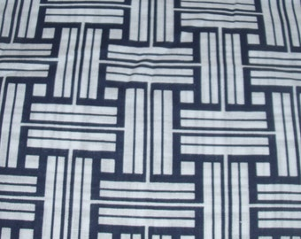 Navy Blue and White Striped Fabric Quilting Fabric Sewing Fabric 100% Cotton One Yard