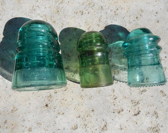 Insulators 1920-1950 Colored Glass Three Vintage Green and Aqua Blue
