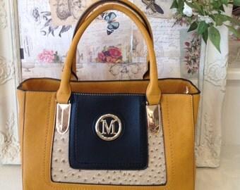 Mustard Handbag with Beige and Black