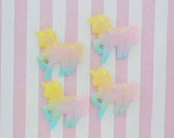 40mm Kawaii Pastel Glitter Unicorn Flatback Resin Decoden Cabochons - 4 piece set