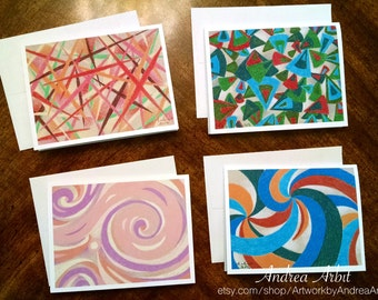Abstract Set 2 - Pack of Four Blank A2 Notecards - Colored Pencil Art Prints