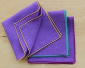 "Purple Linen Pocket Square, Linen Handkerchiefs, Wedding Apparel, Men's Handkerchief, Custom Pocket Square, Men's Hankies  (one) 12"""