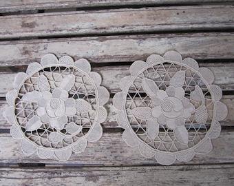 2 Vintage Guipure Handmade Round Doilies