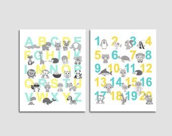 Aqua and yellow Alphabet and numbers nursery art print - UNFRAMED - nursery wall art, kids room decor, 123, abc, playroom wall art, animals