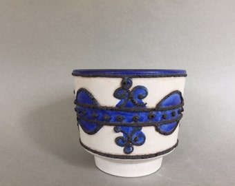 "Marei Keramik 1970s ,  blue and white colour,  decor ,, Brugge""  Mid Century Modern  Planter     West Germany."