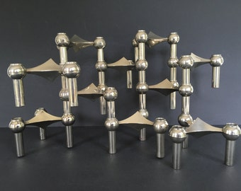 BMF stackable Quist Variomaster, Spage Age,  Atomic Brutalist 10 x candleholder 1960s  Germany.   By Ceasar Stoffi and Fritz Nagel.