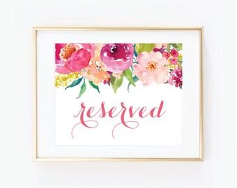 Printable Wedding Sign - Reserved Sign - Floral Wedding - Reserved Wedding Sign - Printable Reserved Sign - Wedding Signage #CL117