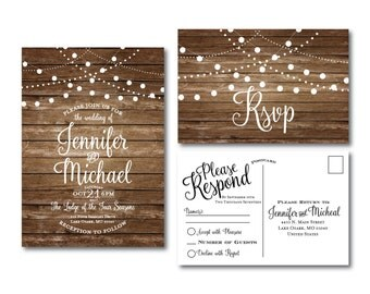 Rustic Wedding Invitation & RSVP Postcard Set, Country Chic, Hanging Lights, Fall Wedding, Rustic Wedding, Printable Wedding Set #CL101