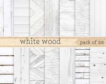 White wood digital paper: Painted Rustic wood texture and distressed wood grain, digital wooden background