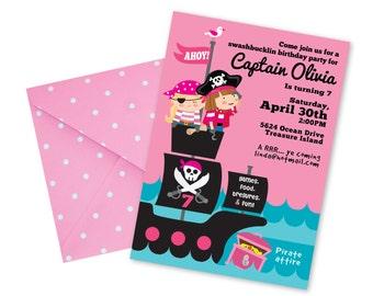 Girl's Pirate Invitation, Printable, Customized, DIY invitation, Girl's Pirate Party