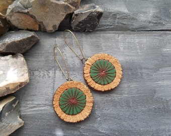 Leather earrings. Bohemian earrings. Hippie earrings. Tribal earrings. Boho jewelry. Leather jewelry. Boho chic. Green earrings.