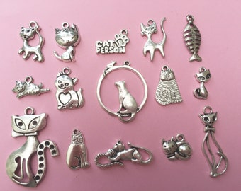 The Cat Charm Collection Antique Silver