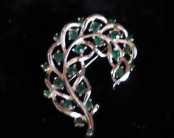 Leaf-Shape Silver Brooch with Emerald Rhinestones