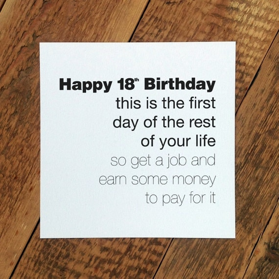 Funny 18th Birthday Card 'This Is The First Day' By