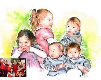 WATERART* Art commissioning, Custom portrait, Family portrait