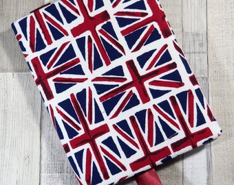 A5 notebook and resuable cover in Union Flag print cotton fabric with ribbon page marker, great for journalling