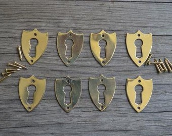 A set of 8 brass antique style Victorian furniture escutcheons SE2