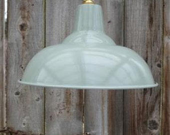 Large French grey/green hanging light pendant shade ceiling lamp factory style industrial BL17 L2