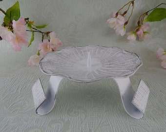 Candle holder white-silver 12 cm