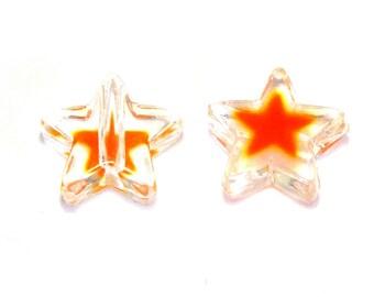 10x Plastic Star Beads, Acrylic Stars 12mm - Transparent/Orange