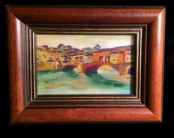 Unique Acrylic Painting on Glass of Florence, Italy's PONTE VECCHIO