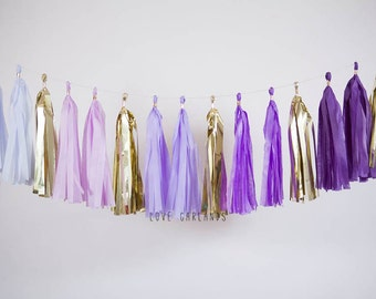 Purple Ombre Sparkle Tassel Garland, Purple Ombre Gold Garland, Purple Ombre Garland, Purple Ombre Baby Shower, Purple Ombre Wedding Decor