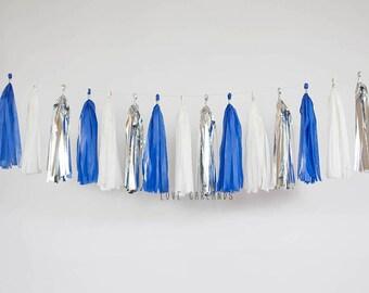 Royal Blue Ivory Silver Tassel Garland, Royal Blue Silver Garland, Cobalt Blue Wedding, Cobalt Blue Bridal Shower, Cobalt Blue Baby Shower