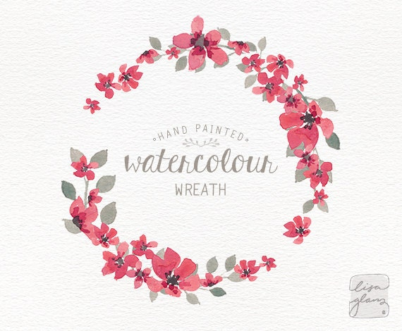 Watercolor Wreath 1 PNG Floral Clipart Wedding Invitation Clip Art Commercial Use Simple Pink Small Flowers CM0063i