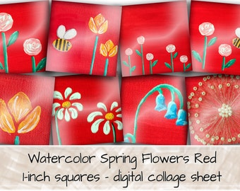 Spring Flowers Digital Collage Sheet, 35 1 inch square images 0262