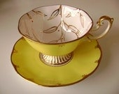 Spectacular Royal Albert Avon high footed yellow cup and saucer, large avon shaped lemon yellow Royal Albert leaf design handpainted teacup