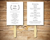 Wedding Program Template - Printable Wedding Program - DIY Wedding Fan Template  - Instant Download - Wreath Collection