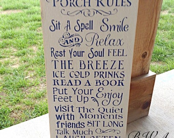Primitive porch sign, Porch rules sign, wood porch sign, porch signs, rustic porch sign, porch decor, porch sign, wooden signs, home signs