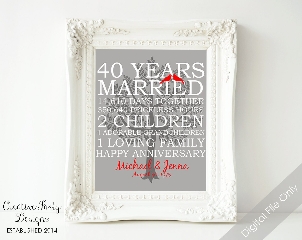 Unusual Ruby Wedding Gifts: 40th Wedding Anniversary Gift 40th Anniversary Print