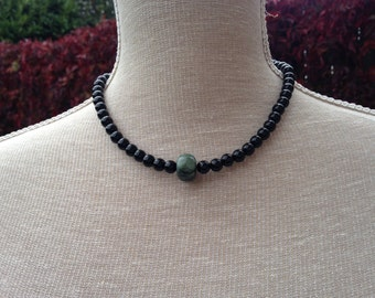 Emerald and black tourmaline necklace