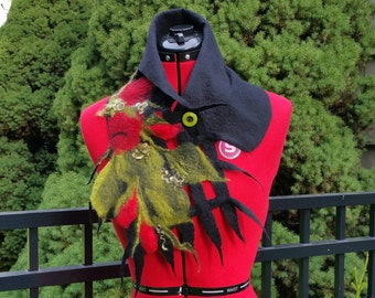 Felted Wool Collar in Black With Red Roses .  Felted  Cowl. Wearable Fiber Art Neckpiece.  Unique Felted Scarf. Luxurious Wool Neckpiece.