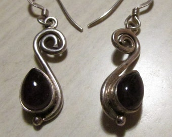 Sterling Silver and Amethyst Dangle Wire Earrings