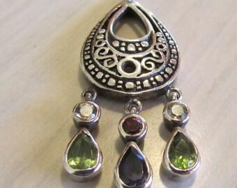 Sterling Silver Teardrop Pendant with Gemstone Dangles