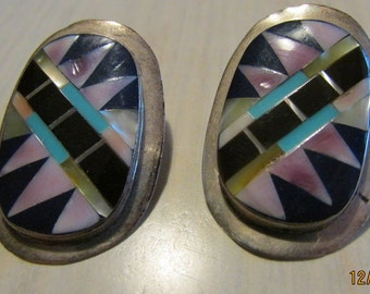 Large Sterling Silver Inlay Earrings from the Phillipines