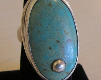 Signed Sterling Silver and Turquoise Bold Ring.  Size 6 1/4