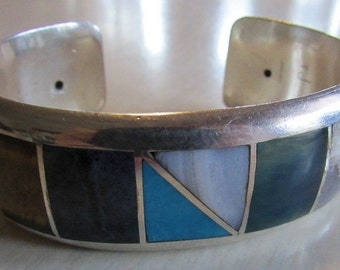 Sterling Silver Inlay Stone Cuff Bracelet