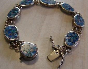 Sterling Silver Mosaic Opal Link Bracelet