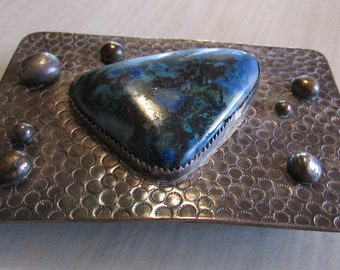 Sterling Silver Belt Buckle with Great Looking Stone