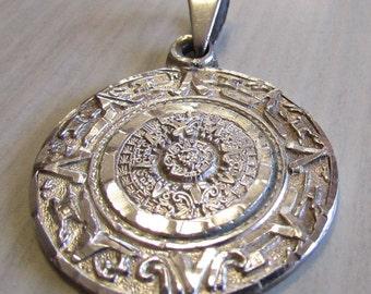 Sterling Silver Diamond Cut Aztec Calendar Pendant