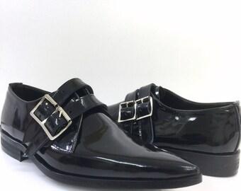 2 Strap Winklepicker Shoe in Black Patent Leather