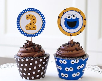 Cookie Cupcake Topper, 2nd Birthday, Monster Birthday decoration, Monster Toppers, Cookie monster party - 2.25 inch