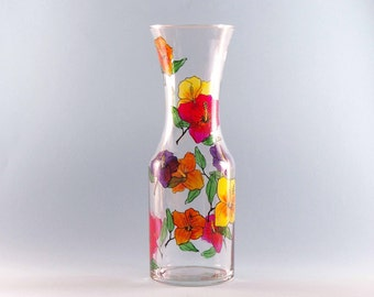 Hibiscus Carafe - Hand Painted Carafe - Tropical Design